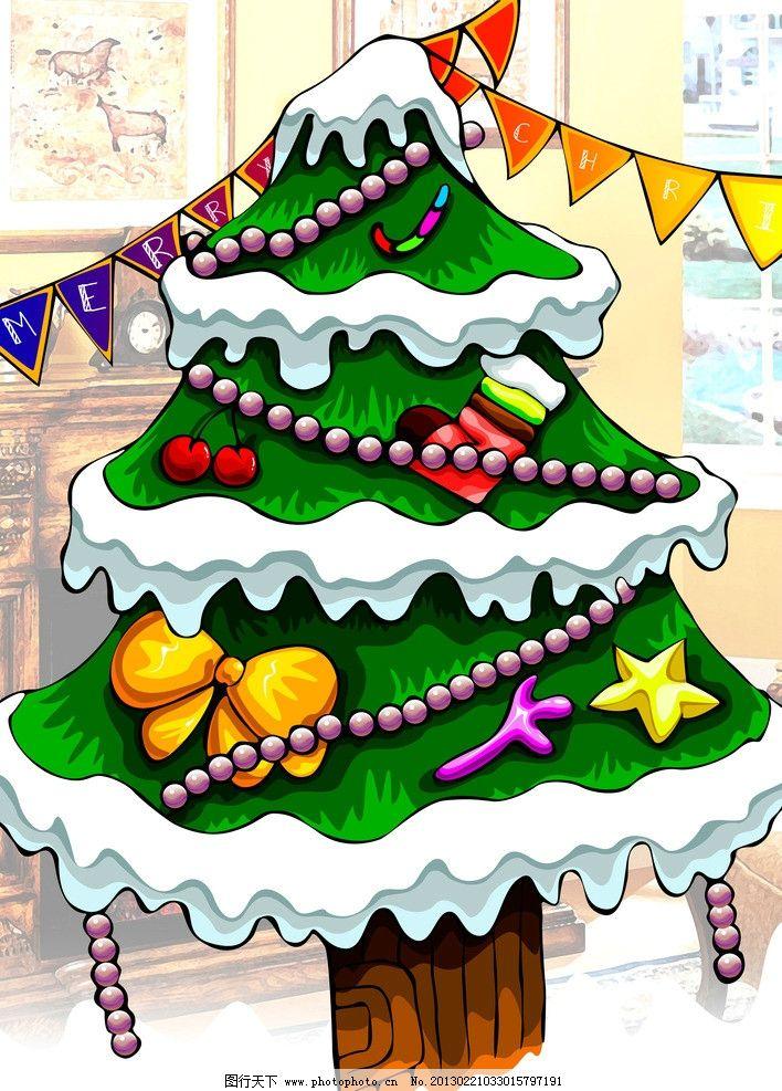 圣诞树 圣诞节 儿童画 色彩 鲜艳 礼物 绿色 psd分层素材 源文件 300