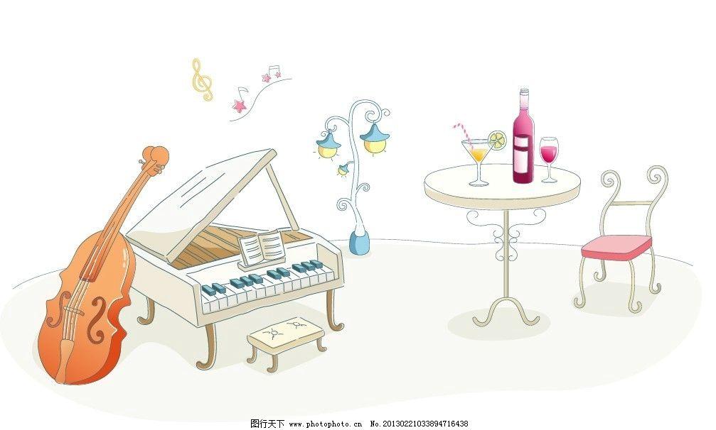 水彩手绘钢琴键盘