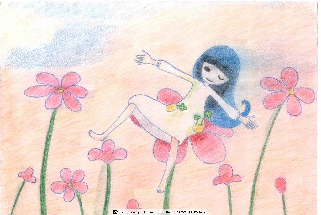 可爱女孩 花儿 手绘 彩铅 手绘插图 女性妇女 人物图库