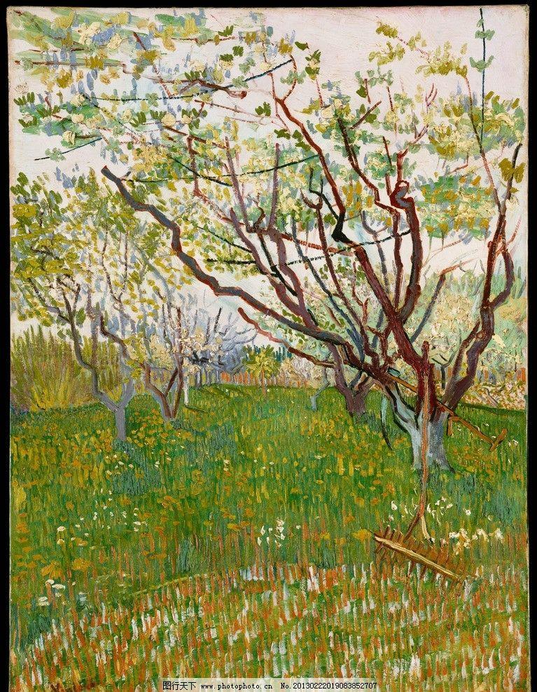 设计图库 文化艺术 绘画书法  梵高 开花的果园 后印象派 油画 欧洲