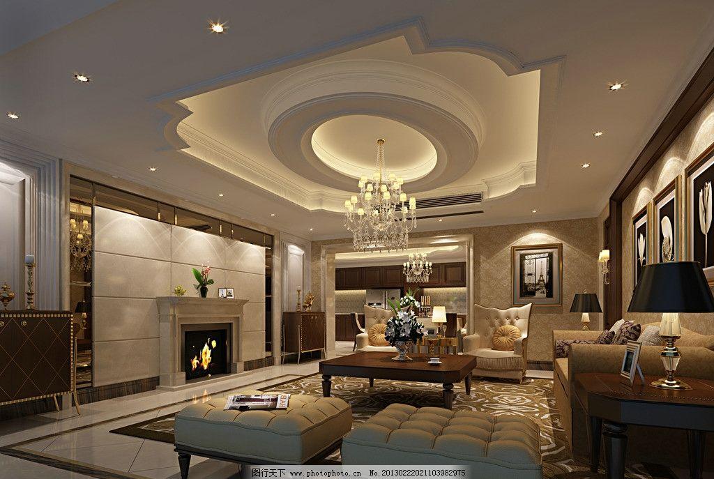 客厅效果图 室内设计        家装      欧式 复古欧式 3d作品 3d设计