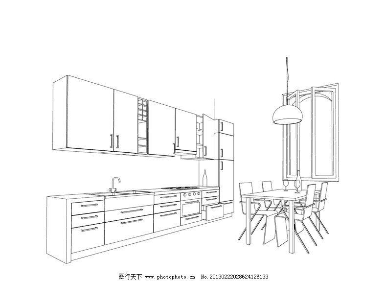 室内手绘家具单体线稿练习图-大_设计分享