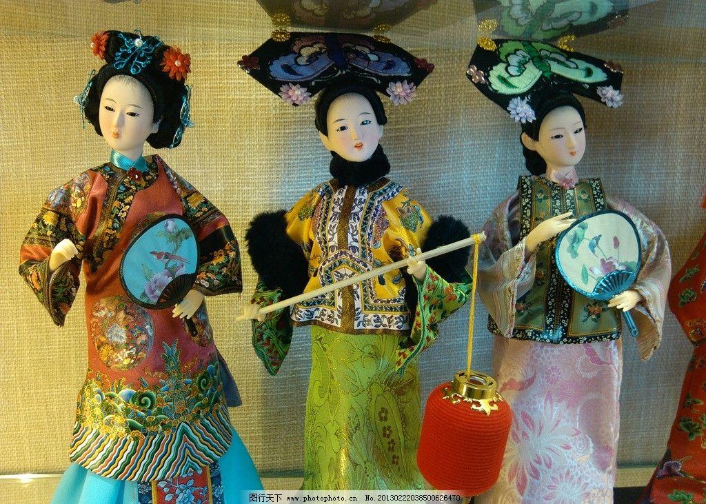 妃子木偶 妃子 木偶 北京 清朝 女子 美女 灯笼 旗头 古装 扇子 传统
