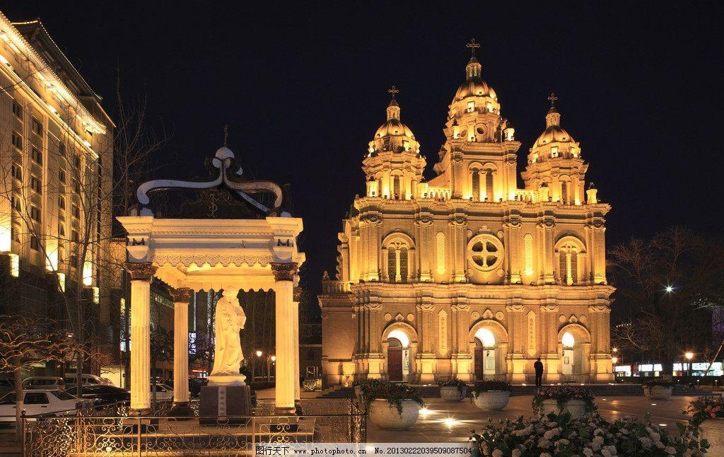 欧式复古建筑夜景