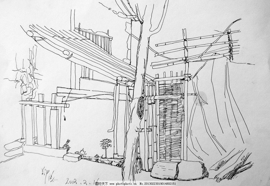 郑涛钢笔画 景观手绘 贵州师范大学求是学院