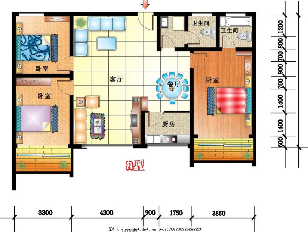 平面设计图 cdr 室内 沙发 地板 床铺 客厅 主卧 餐厅 室内平面设计