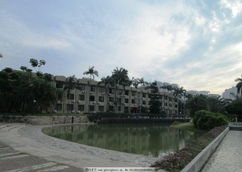 自然风景 深圳大学 文山湖 蓝天 校道 校园的路 深大 教学楼 园林建筑