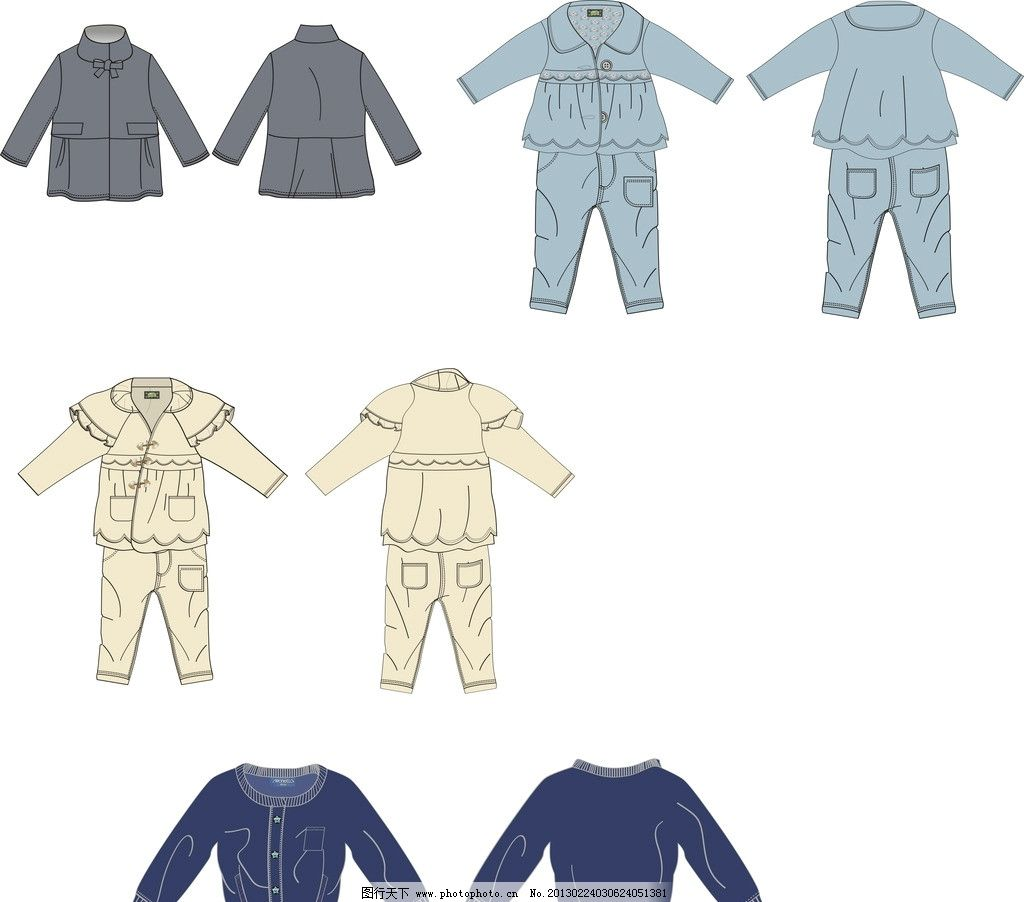 短裤服装款式矢量图