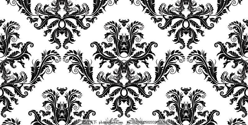 欧式花纹 背景 抽象 花朵 植物 线条 树木 树叶 藤蔓 潮流花纹