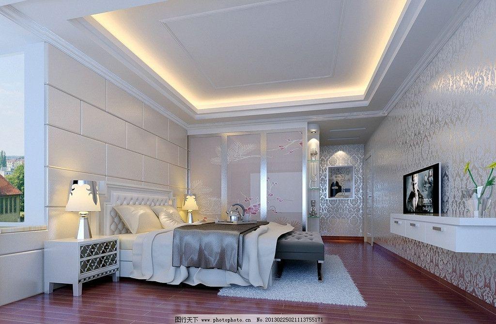 主人房图片,主题墙 墙纸 木板 衣柜 欧式风格 电视-图