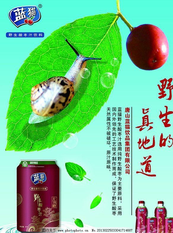 企业宣传单 展板 店招等 树叶 落叶 蜗牛 枣 饮料 蓝猫酸枣汁 易拉罐