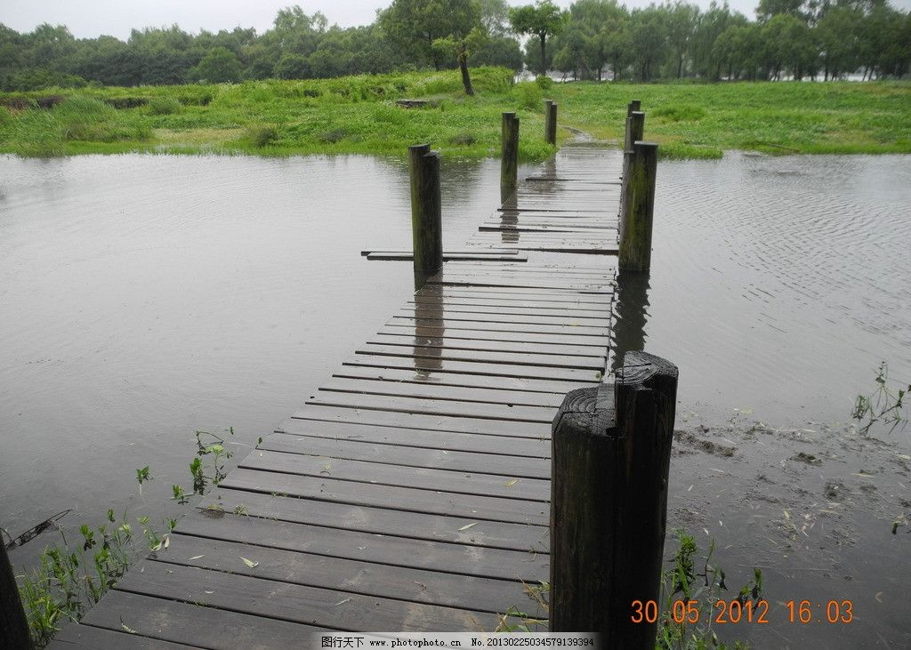 木桥 下雨 草地 树木 草坪 田园风光 自然景观 摄影 300dpi jpg