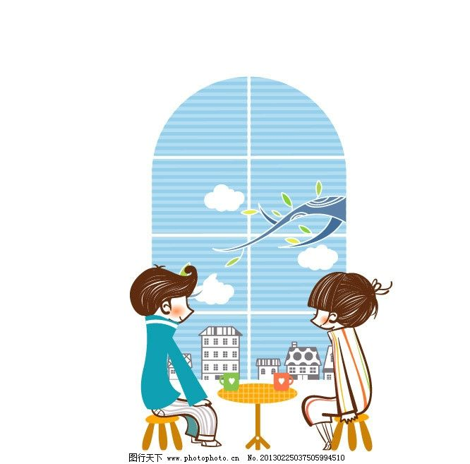 约会 情侣 爱 爱情 喝咖啡 窗外风景 情人节 恋爱 窗户 甜蜜