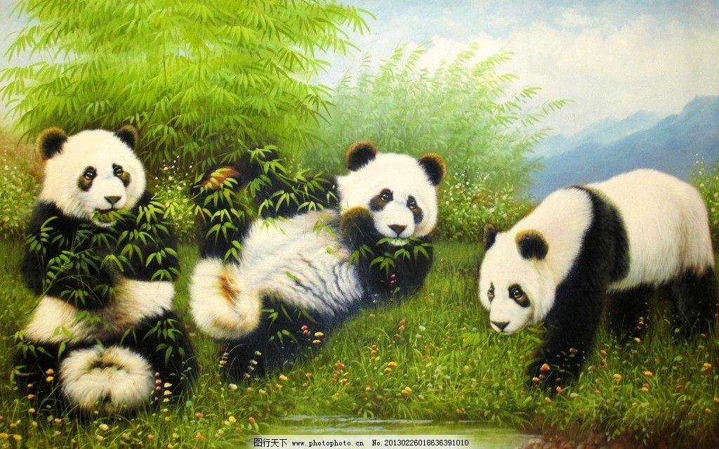 熊猫 大熊猫 国宝 绿竹 绿叶 油画 草地 小草 远山 动漫动画