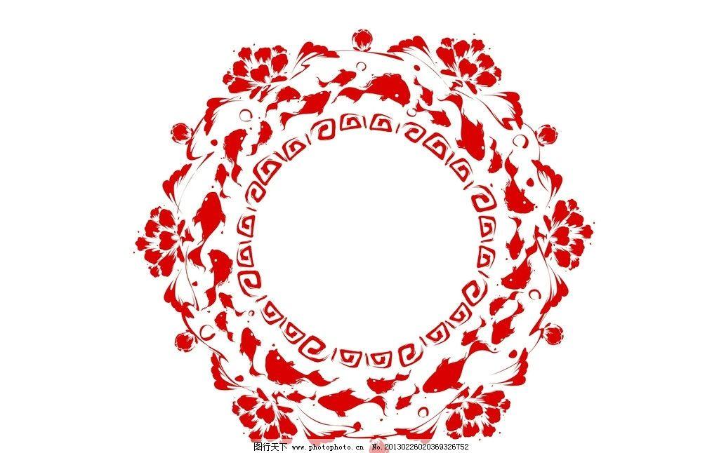 红色花边剪纸图片