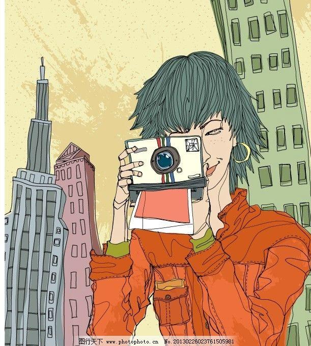 时尚女性 人物插画 卡通素材 矢量风景 矢量人物 矢量动物 彩铅画