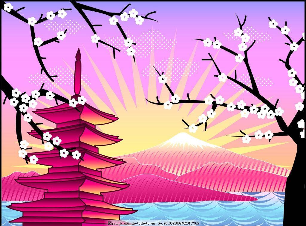 富士山风景 卡通 地标性建筑 风景 樱花 富士山 矢量素材 风景名胜