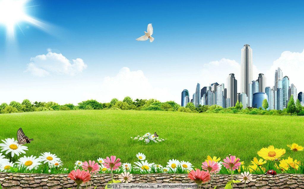 景观 户外 城市 自然 绿色 蓝天 白云 草 草地 绿草地 花 化成 树叶