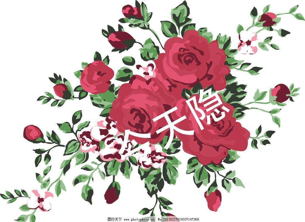 玫瑰花 抽象 水粉 叶子 背景 爱情 情人节 节日素材 矢量