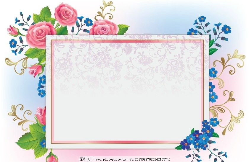 玫瑰边框 爱情卡片 玫瑰 绿叶 藤蔓 爱情 婚庆 古典花边 边框 欧式