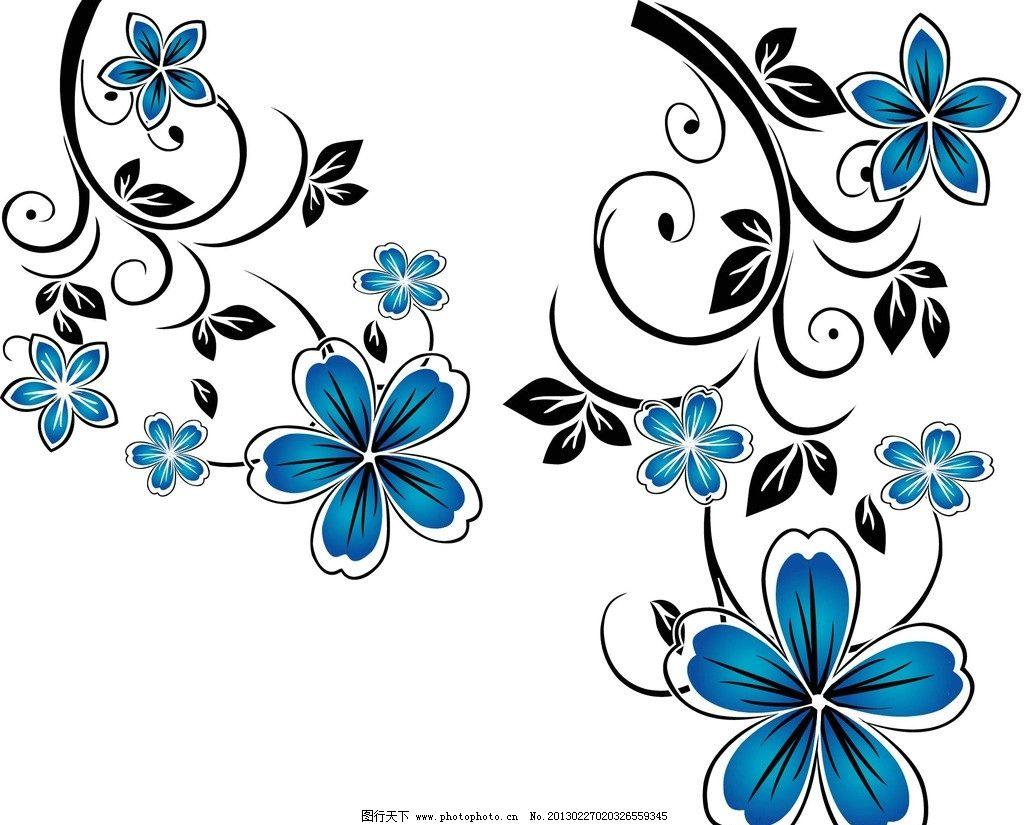 蓝黑花纹 ai     矢量 底纹 花纹 边框 花边 蓝色 花 黑色 线条 花朵
