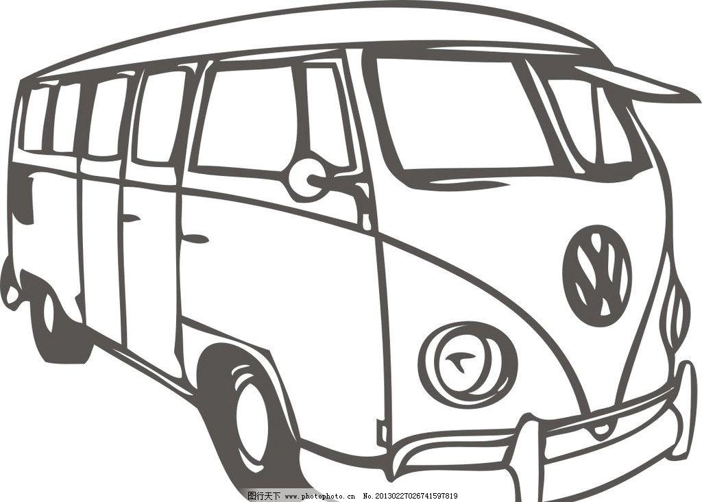 矢量交通工具 汽车 客车 模型 线条 素描 卡通