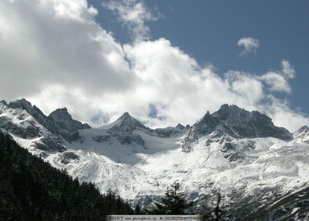 大雪山 白云 雪白 冬季 寒冷枯木 自然风景 自然景观 摄影