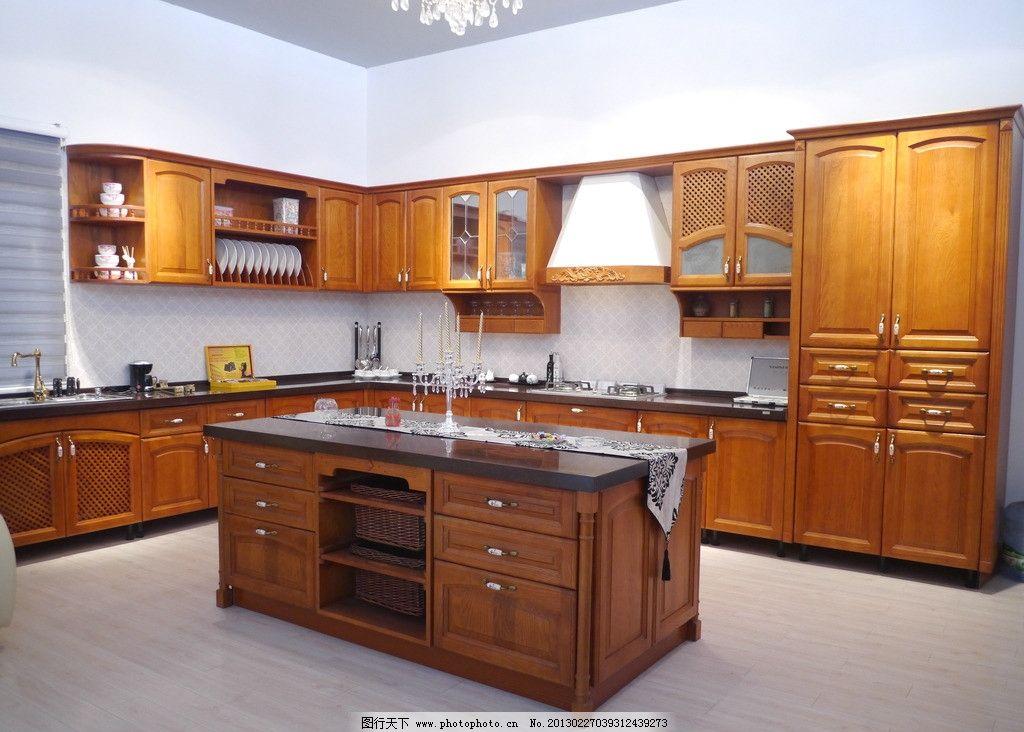 欧式实木橱柜 厨房 酒柜 家具 生活素材 岛台 室内摄影 建筑园林