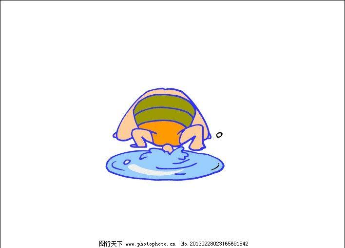 小孩戏水动漫矢量图图片