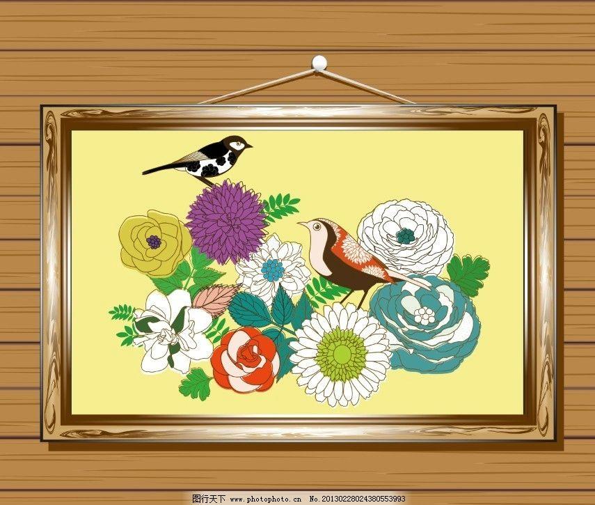手绘花朵画框图片