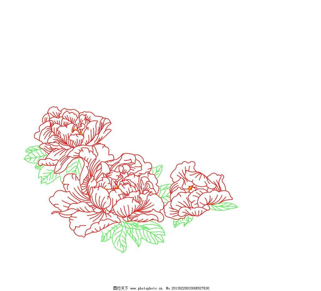 牡丹花 线条牡丹花图片