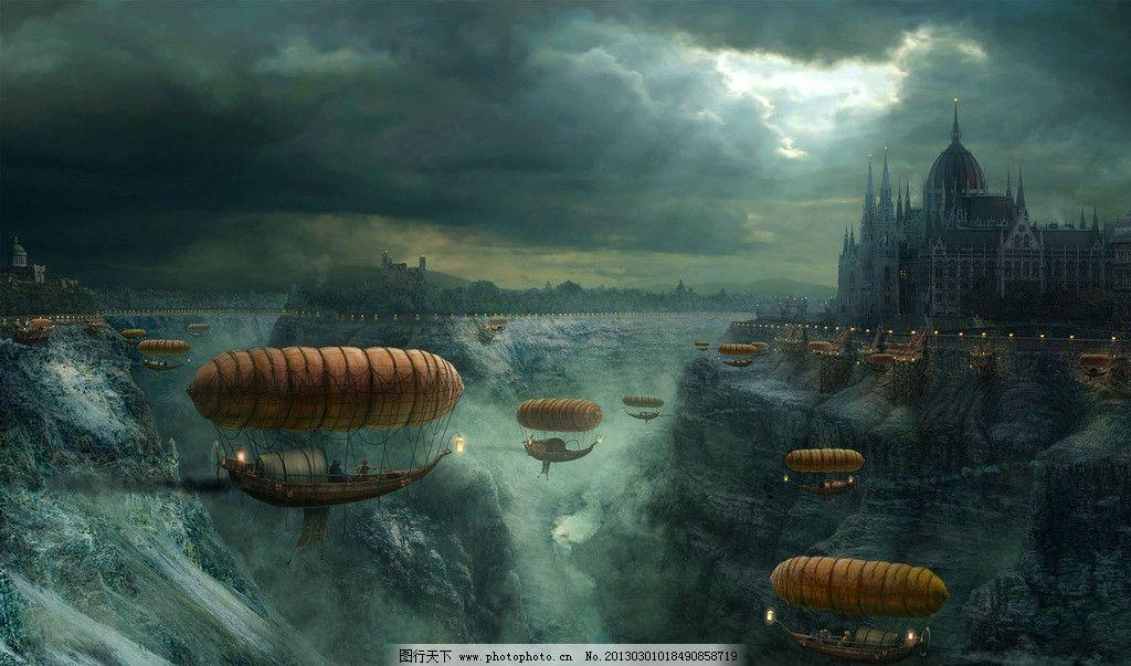 游戏场景 飞船 城堡 瀑布 乌云 天空 阳光 jpg 风景漫画 动漫动画