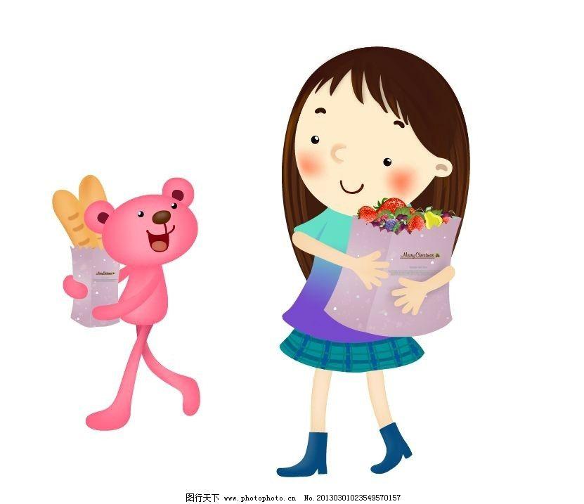 抱着食物的卡通女孩和兔子 面包 水果 矢量人物