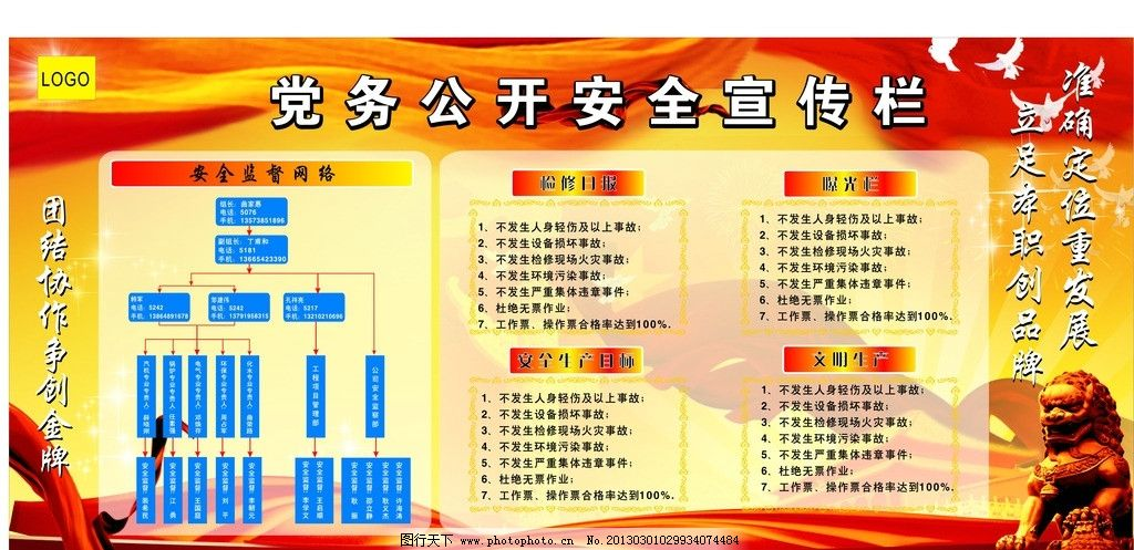 红色展板 天安门 中华 党旗 团结协作 创品牌 和平鸽 星星 检修 曝光