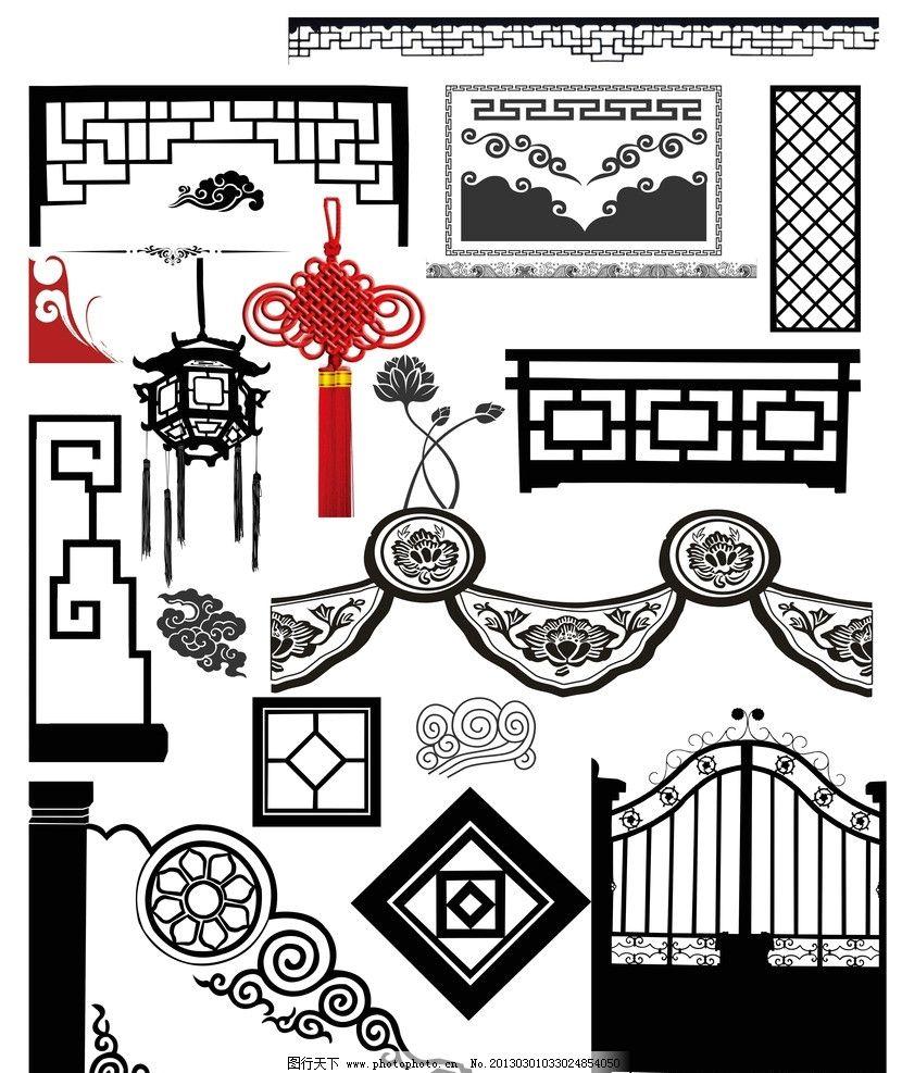 花纹 边框 中国结 灯笼 古典图 古典装饰 节日装饰 源文件