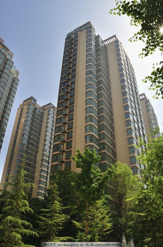 高楼 楼宇 生活区 建筑 透视 仰视 水泥森林 绿树 小区 大厦