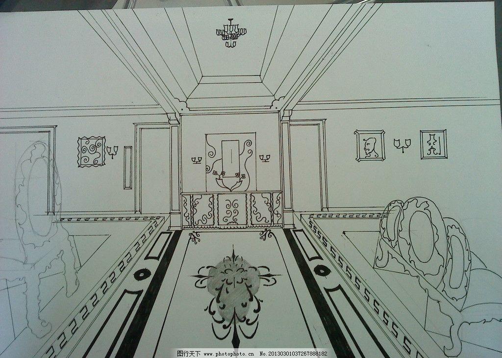 室内设计作品 欧式风格 大堂 效果草图 绘图 室内装饰图 学习办公