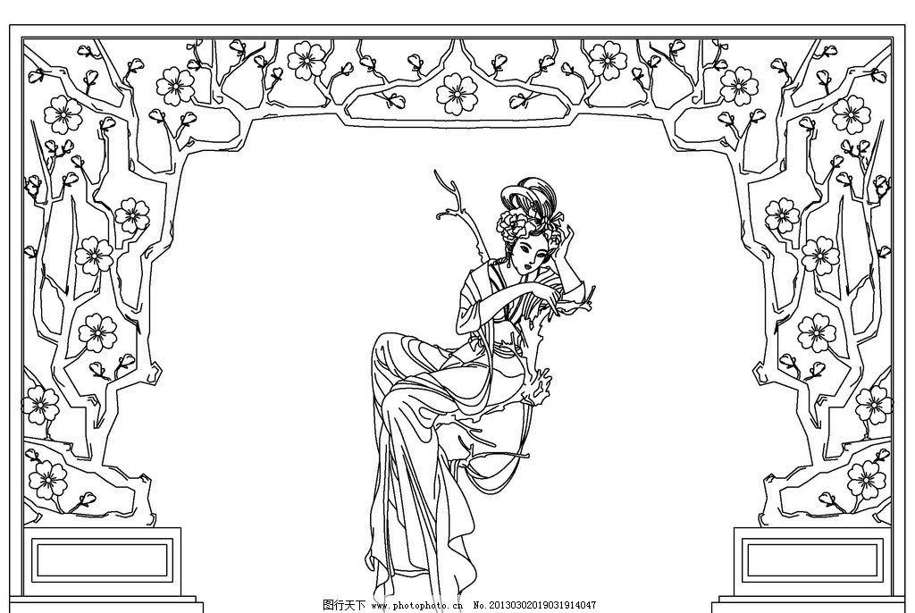 古典美女线描头像