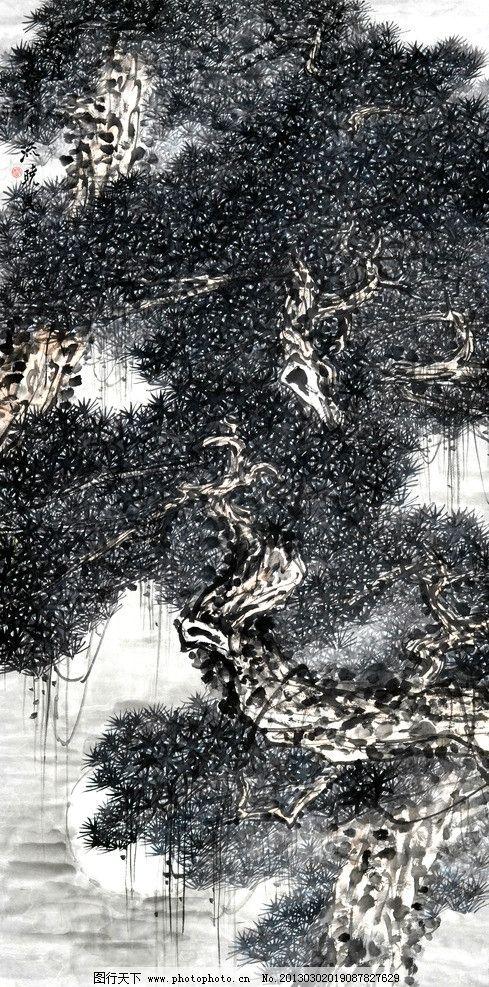 月夜松涛 美术 中国画 水墨画 松树 老松 月光 国画艺术 国画集86