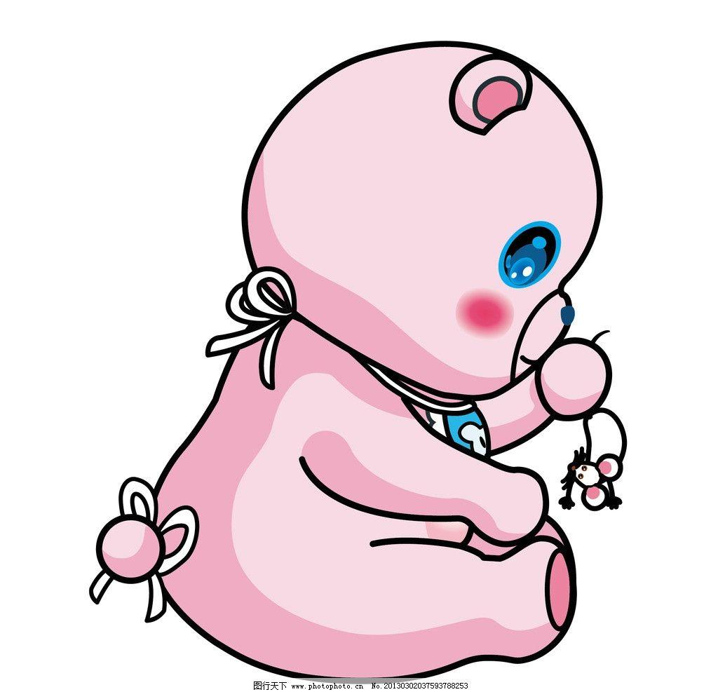 卡通侧面粉色小熊图片