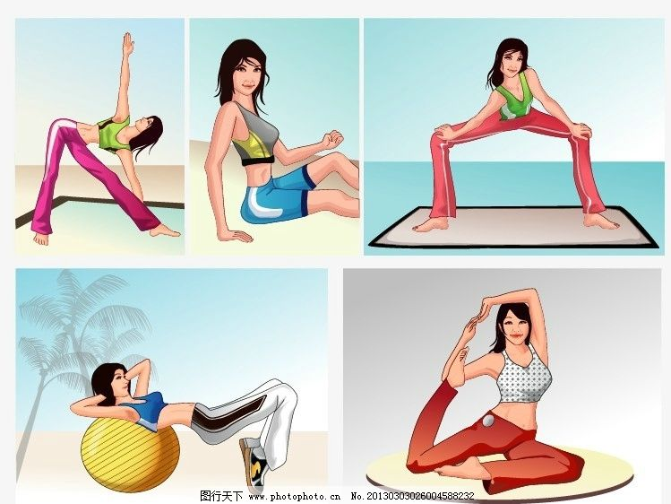 瑜伽女性 矢量 运动 休闲 锻炼 手绘 线条 插画