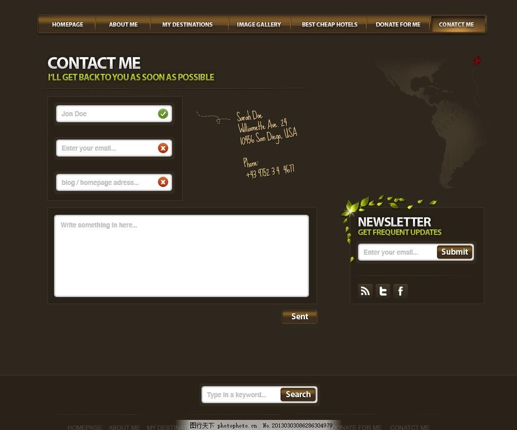欧美类留言版网页模板 灰色系网页模板 特色导航 欧美风格 留言板图片