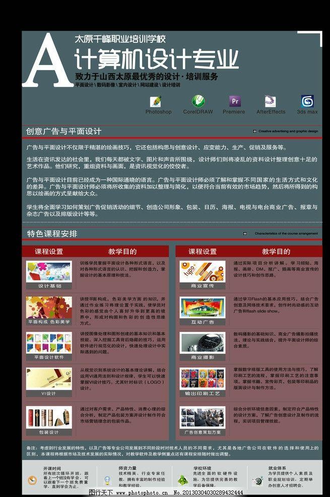 计算机培训展板 学校招生展板 学校展板 职校各专业展板 广告设计模板