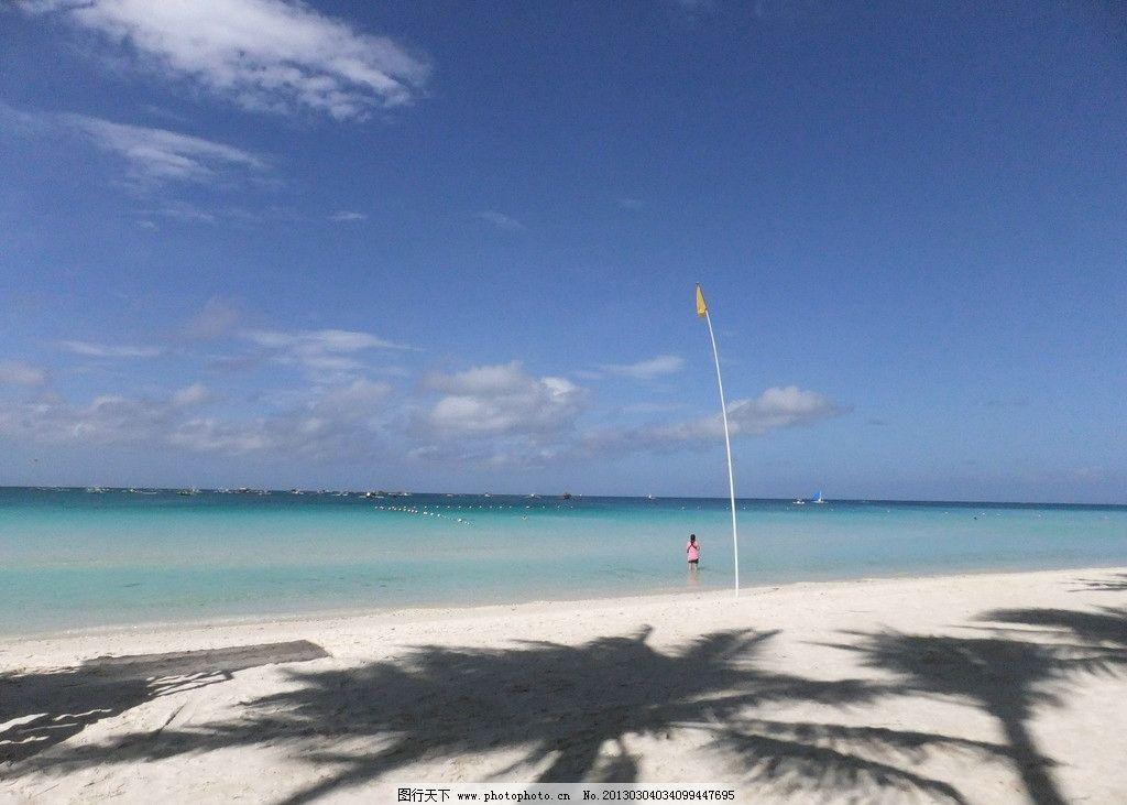 长滩岛海滩 海滩 天空 海水 蓝 云 沙滩 蓝天 白云 国外旅游 旅游摄影