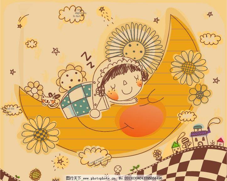 月亮船 夜晚 梦乡 孩子世界 卡通人物 儿童绘画 卡通形象 铅笔画