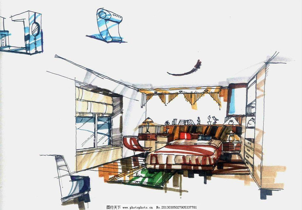 室内设计效果图 手绘效果图 卧室设计 墙面设计 柜子设计 室内设计