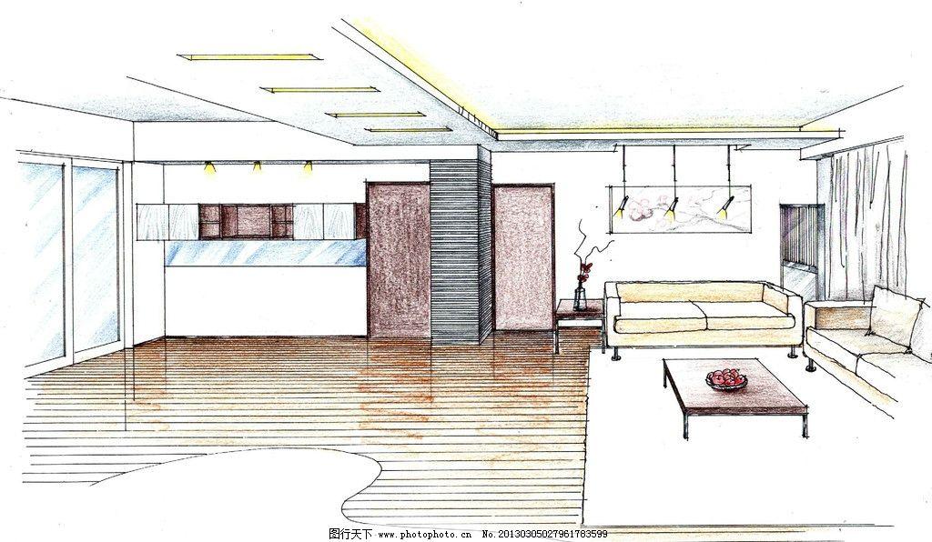 室内设计效果图 手绘效果图 客厅设计 天花吊顶设计 地面铺装设计