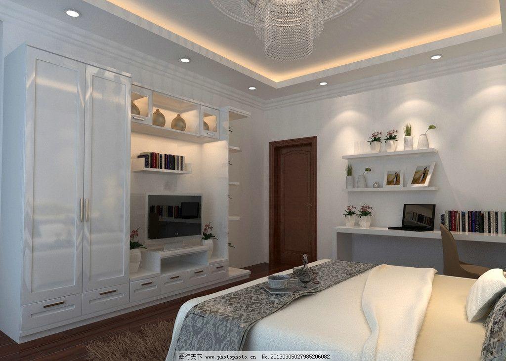 室内设计效果图 卧室设计 电视背景墙设计 墙面设计 吊顶设计 柜子