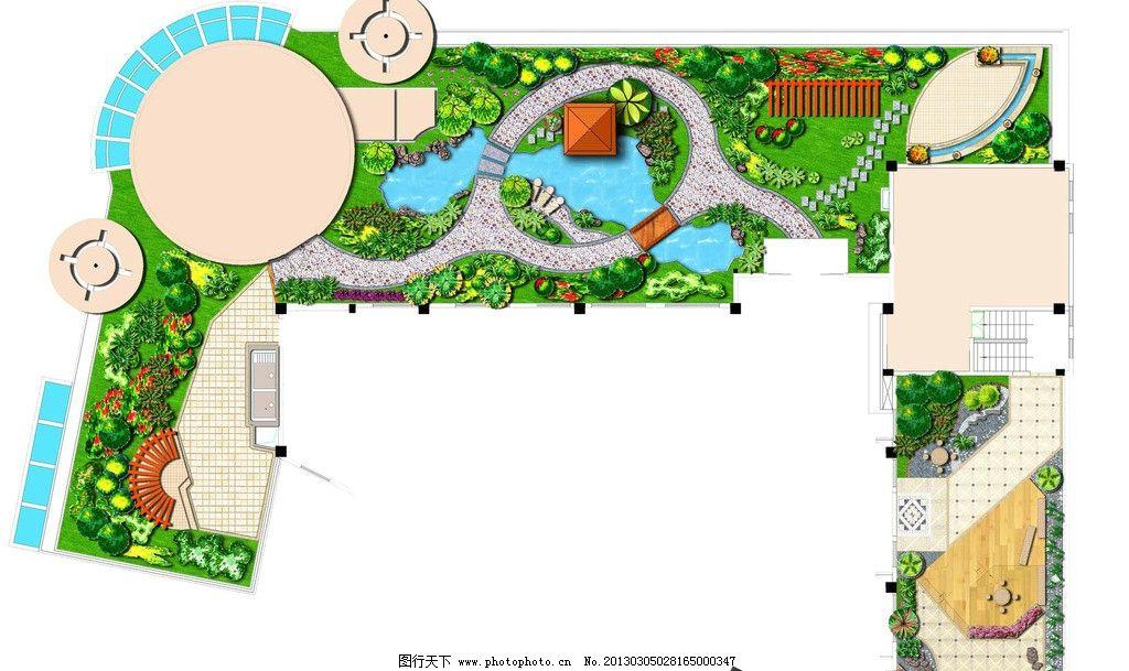 景观设计 总平面图 彩色平面图 园路设计图 总平面布置图 环境设计 设