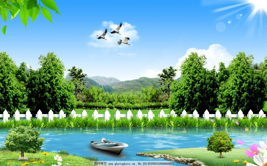景色 绿色 蓝天 白云 草地 草 树 绿叶 树叶 落叶 花 花丛 小船 果树